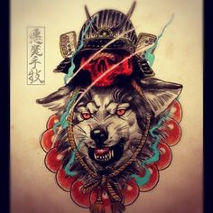 84a6c9582 japanese wolf tattoo - Google Search Original Tattoos, Samurai Art, Tattoo  Skin, Oriental