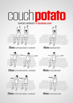 Fitness/musculation/méditation/art martiaux/bien être 350 Couch Potato Workout by DAREBEE Couch Workout, At Home Workout Plan, Arm Workout Men, Workout Plans, Yoga Fitness, Fitness Tips, Workout Fitness, Fitness Plan, Calisthenics Workout At Home