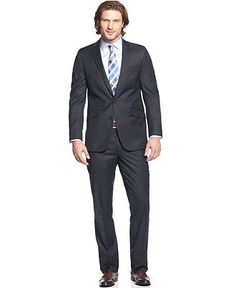 Kenneth Cole Reaction Suit, Navy Solid Slim Fit - Mens Suits & Suit Separates - Macy's