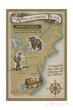 Appalachian Trail Map Prints by Lantern Press at AllPosters.com