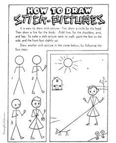 How to Draw Stick Pictures - Step by Step drawing is fun!  50+ easy printable sheets for kids ...