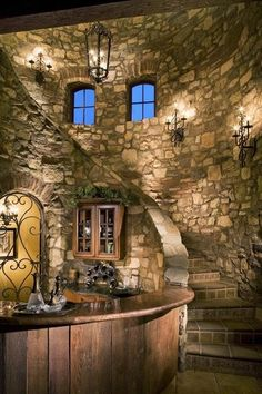 Eldorado Stone - Imagine - Inspiration Gallery - Residential - Unique Spaces The interior view of my wine cellar! Eldorado Stone, Castle House, Castle Wall, Castle Rock, Tuscan Style, Staircase Design, Staircase Ideas, Stairways, My Dream Home