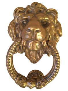 Cast Brass Large Lion Door Knocker On Chairish.com