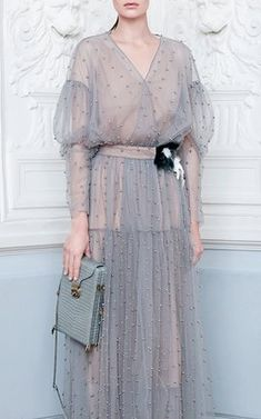 Pearl Embroidered Sheer Dress by Alena Akhmadullina Fall Winter 2018
