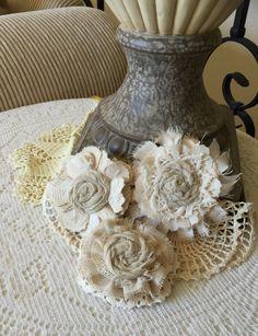 Wedding Hair Flower, Rustic Wedding Decor, Shabby Chic Fabric Flower, Rustic Bridal Flower,Girl Headband Flower,Ivory Wedding hair accessory by ShabbyChicLoft on Etsy