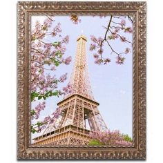Trademark Fine Art 'Eiffel Tower in Spring' Canvas Art by Ariane Moshayedi, Gold Ornate Frame, Size: 11 x 14, Multicolor