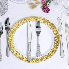 "Leilaniwholesale 10 pcs 7.5"" wide White Round Salad Plates with Hammered Gold Trim. Display your flair for food on these dishes at your next party. The style and charm of these plates will provide some eye-catching elegance at your next gathering!"