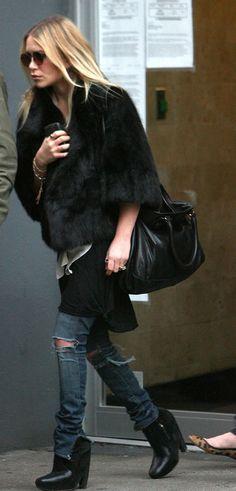 Mary-Kate Olsen in black fur