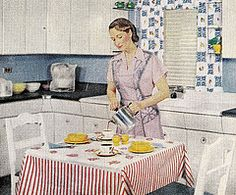 Coffee and Cereal for Breakfast (saltycotton) Tags: life kitchen breakfast vintage magazine fiesta ad apron advertisement 1940s housewife 1949 bfgoodrich homeinteriors koroseal