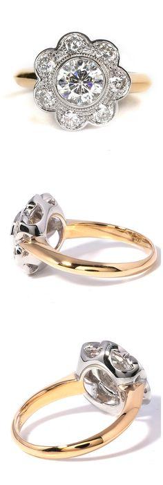 1.75 CTW Flower moissanite wedding ring from TransGems