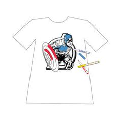Avengers party Color Your Own T-shirt Transfer features images of Captain America, Iron Man, Thor and The Hulk as well as the Avengers logo.