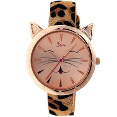 Boum Ombre Rose Dial Animal-print Leather Ladies Watch ($89) ❤ liked on Polyvore featuring jewelry, watches, cat jewelry, pink-face watches, cat wrist watch, cat watches and quartz movement watches