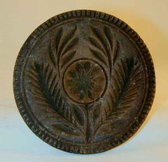 Large Antique Carved Wood Primitive Butter Print Stylized Flower and Leaves Toothed Border