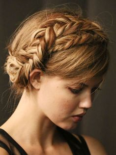 Beauty of the milkmaid braid: Not only will the style stay put, but if it gets a little mussy, it'll just make your 'do look cooler. My Hairstyle, Pretty Hairstyles, Braided Hairstyles, Wedding Hairstyles, Braided Updo, 2014 Hairstyles, Bridesmaid Hairstyles, Wedding Updo, Short Hairstyles