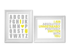 Yellow and Gray Nursery Art  ABC and Smitten   by breedingfancy, $29.00