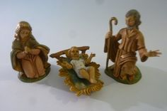 Vintage Fontanini Nativity Set of 4 Infant Jesus in Manger Blessed Mother and St. Joseph Hand Painted Polymer Made in Italy 1980s by ZoomVintage on Etsy