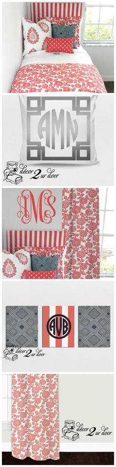Coral floral mums dorm room. Neutral dorm room bedding. Anthropologie Inspired Dorm Room. Dorm Décor and More! Available in all bed sizes: twin, full/queen, and king. Custom pillows, exclusive bed scarf, window panels, wall art, bed skirts, and custom monogramming! Custom-made designer bedding and accessories.