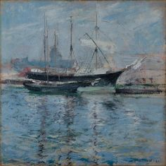"""Bark and Schooner"" (Italian Salt Bark) (1900) by John Henry Twachtman"