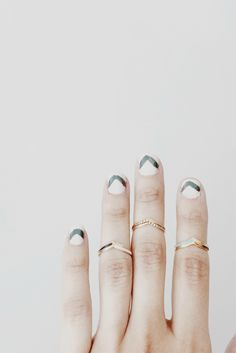 Match your manicure to your jewelry: chevron nails and stacking rings // @shopethica