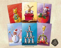 Carte de voeux Noël Fêtes de fin d\'année Bébé Marmotte   Etsy ...