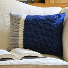 """The """"Main Line Pillows"""" knitting pattern includes two (2) color block inspired designs. This pattern is available on Ravelry , Craftsy an..."""