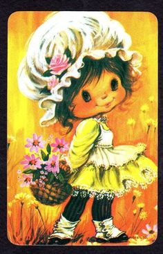 Vintage Card Cute Girl with Flower Basket