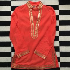 Tory Burch Orange Embellished Tunic Perfect condition Tory Burch tunic.  100% cotton, beautifully embellished with gold sequins.  Classic Tory style.  Smoke free, pet free home. Tory Burch Tops Tunics