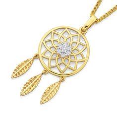 9ct Gold Diamond Miracle Plate Dream Catcher Pendant