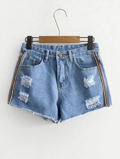 Shop Stripe Side Raw Hem Denim Shorts at ROMWE, discover more fashion styles online. Ripped Jeans Outfit, Ripped Denim, Denim Outfit, Cropped Denim Jacket, Denim Overalls, Cotton Shorts Women, Cute Pants, Jeans For Short Women, Girls Summer Outfits