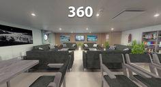 Panorama 360° de render del comedor de un buque