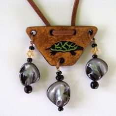 Grandmother Turtle Gourd Pendant Jewelry by John and Jeanne Fry