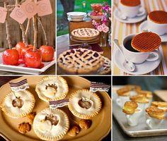 fall wedding food  Pies, warm drinks, cider, carmel apples, coffee. :)  #CupcakeDreamWedding