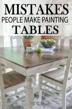 Common Mistakes Made Painting Kitchen Tables Learn how to paint your kitchen table correctly, by learning how to avoid these major mistakes!Learn how to paint your kitchen table correctly, by learning how to avoid these major mistakes! Refinishing Kitchen Tables, Painted Kitchen Tables, Kitchen Table Makeover, Diy Kitchen Decor, Kitchen Paint, Diy Home Decor, Refurbished Kitchen Tables, Painted Farmhouse Table, Dining Table Makeover