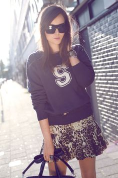 sporty pullover and leopard skirt. #zappos
