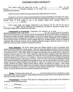 Construction+company+contract+template | Sample Construction Contract