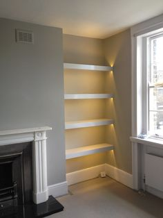 White Bathroom Shelves Floatingavid in transforming your bathroom into a relaxing look with updated amenities and pretty Alcove Storage, Alcove Shelving, Recessed Shelves, Built In Shelves, Glass Shelves, Alcove Bookshelves, Corner Shelving, Fridge Storage, Alcove Ideas Living Room