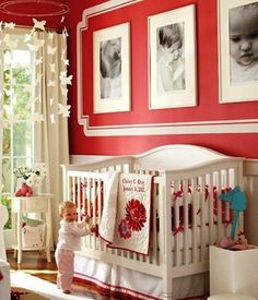 Beautiful idea for childs room.  I love the photos on the wall above the crib.  Great idea.  ciao! newport beach: i heart Red & White