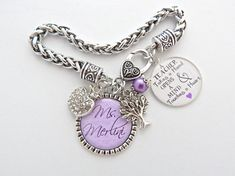 TEACHER Gift Purple PERSONALIZED Teacher Charm by MyBlueSnowflake