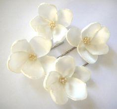 horquillas flor rosa blanca crema marfil boda flor juego de