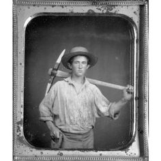 sixth-plate daguerreotype of a Gold Miner with a Pickaxe and Shovel