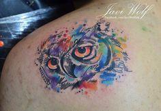 Watercolor owl tattoo.  Tattooed by @javiwolfink  www.javiwolf.com