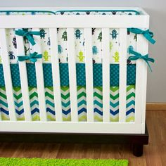 Robot Crib Bedding Cribset Custom Baby Bedding by modifiedtot