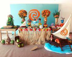Moana Theme Birthday, Moana Themed Party, Hawaiian Birthday, Moana Party, Hawaiian Luau, 4th Birthday Parties, Birthday Party Decorations, 2nd Birthday, Festa Moana Baby