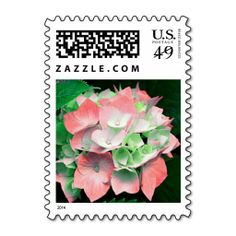 Hydrangea floral postage stamps in coral and green. Perfect for engagement, wedding, bridal shower, vow renewal, and anniversary invitations, announcements, save the dates, and thank you cards. Available in horizontal or vertical format. #coral #green #hydrangea #floral #postage #stamps #stamp #postal #flower #flowers #hydrangeas