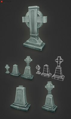 Low Poly Large Grave Stones