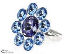 FLOWER violet and blue - silver Swarovski ring. Spectacular, big silver ring with cold violet and light blue Swarovski rivoli crystals arranged in a flower shape.   One size fits on every finger thanks to an adjustable band.