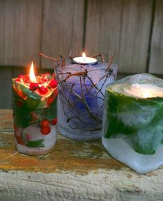 Make these cool garden-inspired candles to light the way to your next wintertime party. They take just minutes to make (plus freezing time), and are guaranteed to set a warm glow on a chilly holiday evening.