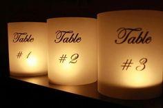 Ideas para enumerar las mesas con velas