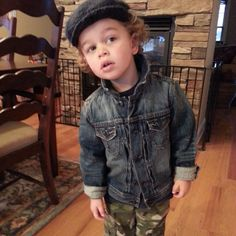 Connor sporting Carters navy thermal, handmade knit cap, GAP jeanjacket, Old Navy Camo pants