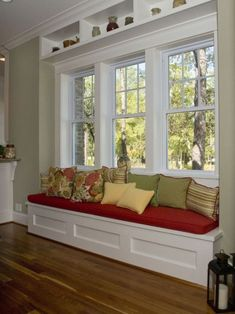 Bay window ideas will help you to enjoy the area around your bay window curtains and bay window treatments. Find the best bay window for 2018 and transform your bay window seat space! Bedroom Windows, Living Room Windows, Bay Windows, Transom Windows, Window Seat Kitchen, Window Benches, Bench Under Windows, House Ideas, Family Room